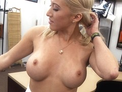 Super sexy and blonde stripper gets her pussy fucked by Shawns pole
