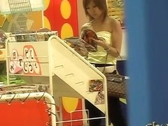 Magazine shop sharking attack with some stunning brown-haired Asian vixen