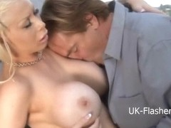 Bikini carwash of busty blonde turns into lesbian kissing and hardcore public sex with big titted .