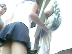 Mesmerizing behinds in an upskirt voyeur video