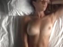 Horny brunette hot solo masturbating action