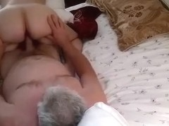 Old man creams his wife's pussy in cowgirl position