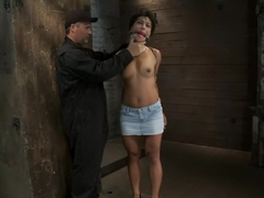 Asian MILF with huge nipples is made to cum hardpulled to her tip toes with a brutal crotch rope