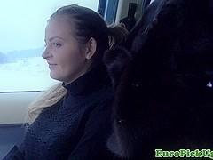 European busty babe Alexa cumswallows