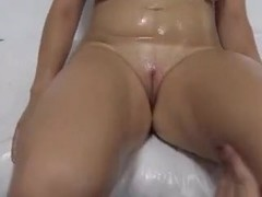 Busty blonde strips on interview and plays with dildo