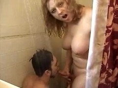 In a shower with a tranny