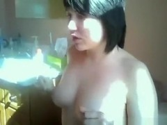 Small titted brunette girl gives her bf a blowjob and gets doggystyle fucked in the bathroom