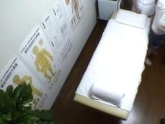 Skillful masseur doing Japanese pussy massage voyeured