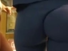 Hot blonde girl using a hungry pant