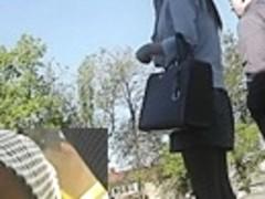 High heeled gal upskirt on transport