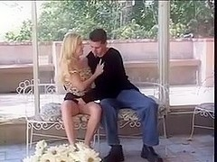 Three guys fuck a cute blonde in group sex scene
