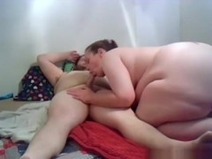 Bbw sucks and rides her fat bf