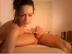 Lady rides fat cock and masturbates