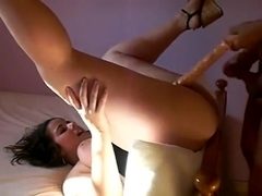 Hubby fucks ass and uses dildo for dp