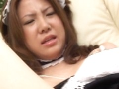 Boob flashing Japanese in maid uniform getting her hole tickled