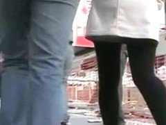 Tight black sotckings girl upskirt street candid video