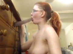 Camslut with glasses deepthroats and facefucks dildo 2