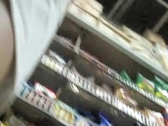 Girl in the grocery sexy jeans up skirt white thong