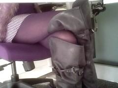 secretary legs under table