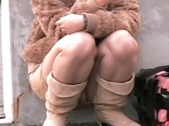 Japanese babe caught on cam during a kinky street sharking