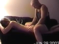 2 rednecks spitroast a slut on the sofa