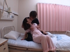 Japanese AV Model is a wild nurse giving hot blowjob