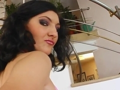 Cum For Cover Bukkakke brunette's shaved pussy gets the right touch