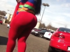 Phat Juicy Booty in Red Tights