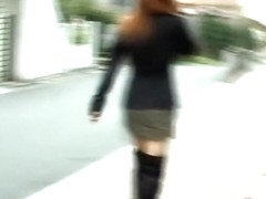 Feisty Asian babe chases after her street sharker.