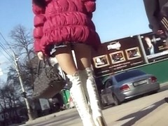 No panties bitch up mini skirt in public candid video