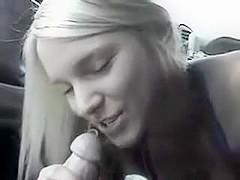 Blowjob sex in a car hawt golden-haired egirlfriend sucks bf penis on movie scene