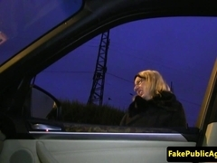 Hitchhiking eurobabe creampied in car