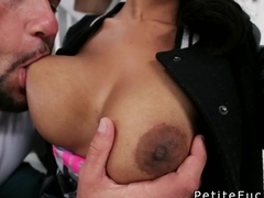 White dude lifting huge tits petite ebony before sex
