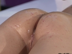 Small tittied naked brunette gets massage and fuck