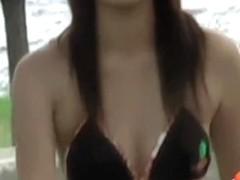After a walk on the beach hot Asian girl got bikini sharked