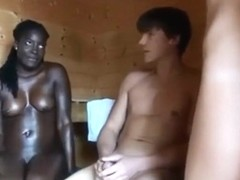 Threesome in sauna on webcam