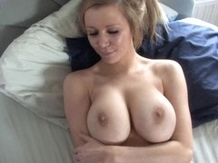 Busty blonde bitch squeezes her jugs in down blouse video