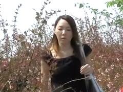 Noisy skinny cutie flashes her bushy pussy when sharking fella grabs her dress