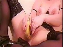 wife fucks banana