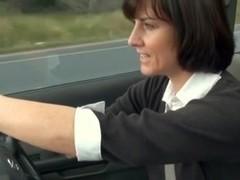 MILF masturbating in car