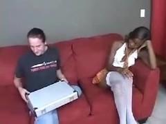 Black slut gets boned and receives a facial