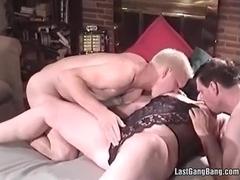 Mature slut in black lingerie fucks hardly