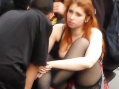 Redhead  nice thong view