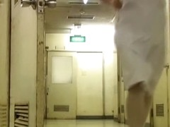 Man sharked nurse uniform and showed her pantyhose ass