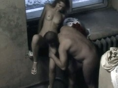 Naked couple in porch