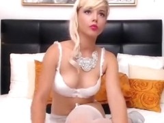 Blonde AngieLewis in white stockings