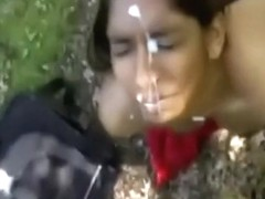 Indian girl giving blowjob outdoors