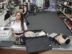 Flight attendant sucking and fucked at the pawnshop for cash