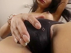 Asian ladyboy Sai in passionate cock masturbation and cum spurts