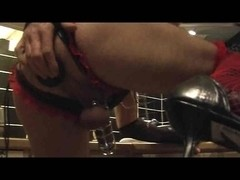 Shemale Amuses With Huge Dildo